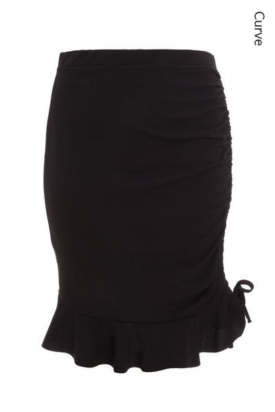 Curve Black Ruched Bodycon Skirt